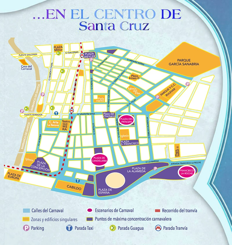 карта карнавала в санта крус де тенирифе