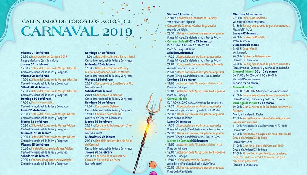 расписание карнавала на тенерифе 2019