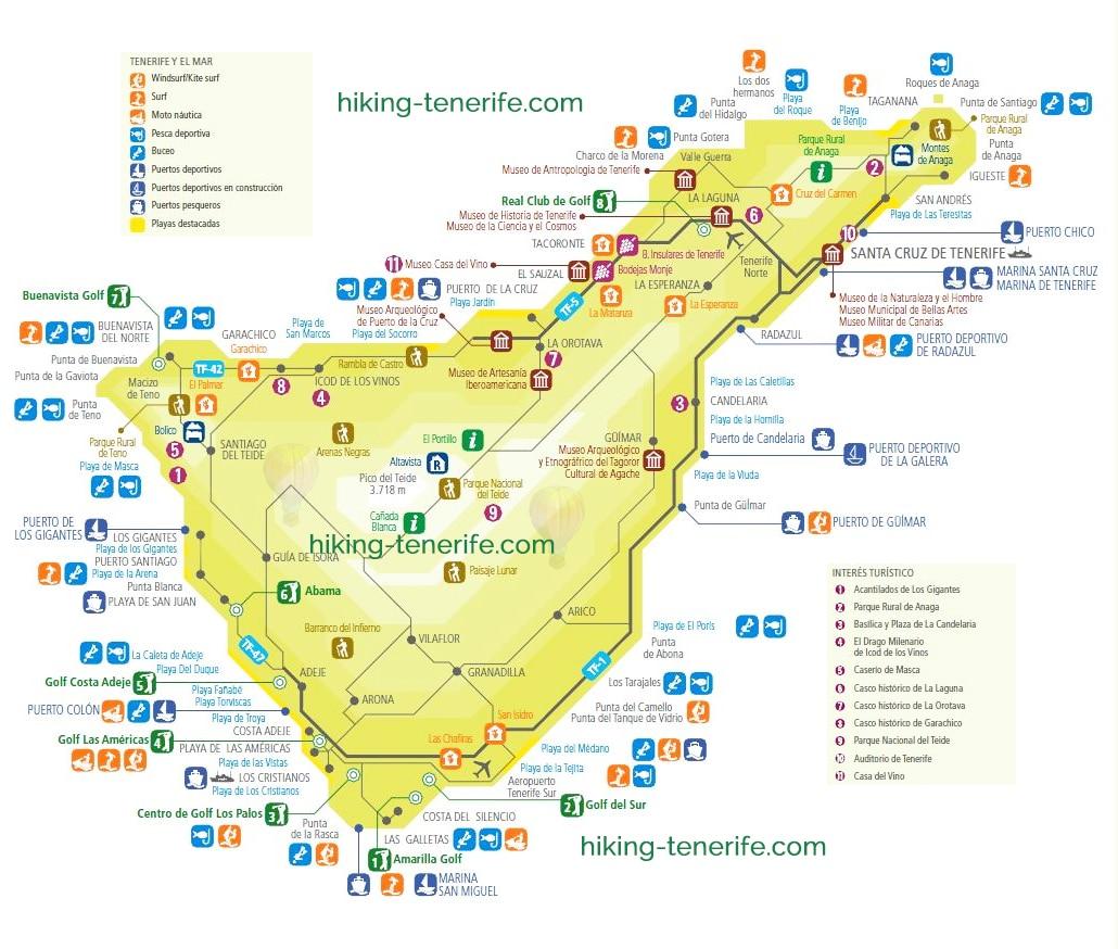 карта острова Тенерифе