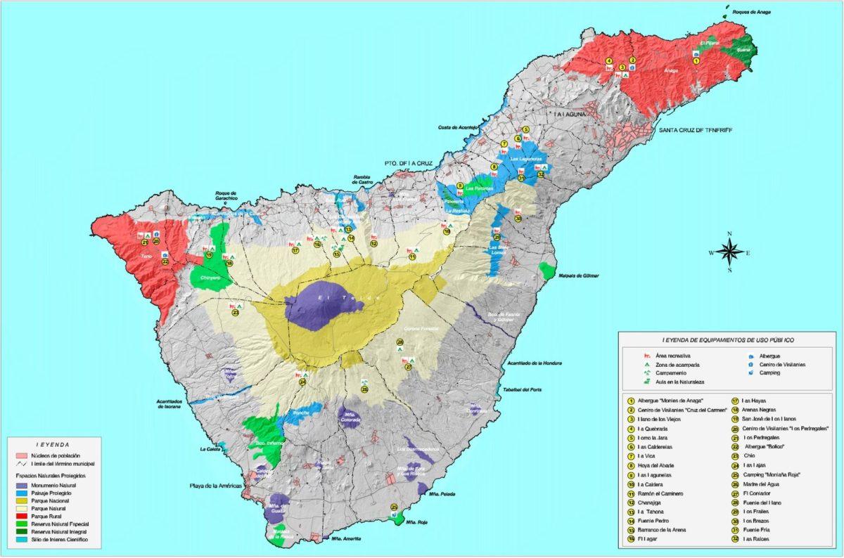 карта национальных парков Тенерифе